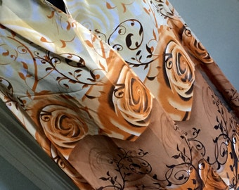 Scarf shawl wrap sarong cover up Fichu with flowers orange peach brown black multi birthday wedding party