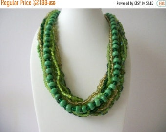 ON SALE Vintage 1960s Green Shades Glass Iridescent Heavier Chunky Necklace 8316