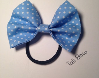 Hair bow ~ Blue with white Polka dots