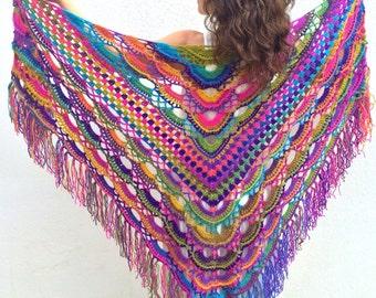 Boho shawl  rainbow shawl  colorful shawl  bohemian shawl  pink shawl  multicolor shawl  gift for her  fast shipping