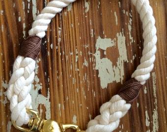 Natural Rope Snap Hook Dog Collar, Non-Choke, Harbor Hound Collar, Cotton Dog Collar, Natural Cotton Collar