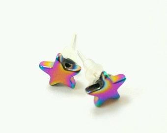 Rainbow Star Earrings, star stud earrings, hematite earrings, gemstone earrings, natural gemstone earrings, hematite jewelry