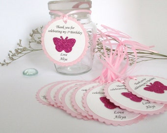 Butterfly Tag. 10 Pink Tags with Glitter Butterfly Baby Shower First Birthday Favor Tag.  Birthday Party Thank you Tag Pink & Gold