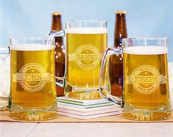 10 Beer Mugs - Glasses - Bridal Party Beer Mugs - Initials - Initialed Beer Mugs- Monogram Beer Glass - Engraved Beer Glass  Party Favor