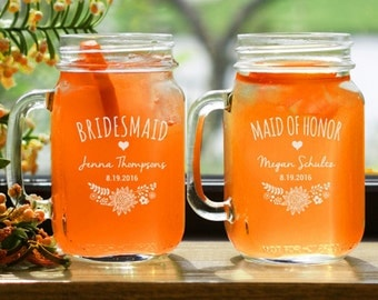 8 Bridesmaid Engraved Mason Jars With Handle - Customized Bridal Mason Jar - Rustic - Outdoor Wedding Reception - Etched Mason Jar Handle
