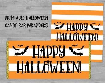 Printable Happy Halloween Candy Bar Wrapper Labels Black Orange Stripes Bats Instant Digital Download