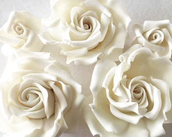 4 Fondant Roses IV 4 Gumpaste Roses Edible Roses Edible Flowers Sugar Flowers Sugarpaste Flowers Cake Decoration Wedding Flowers Cake Topper