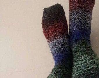 Stormy afternoon socks - wool/silk blend