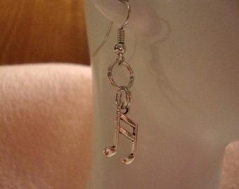 music earrings, music lover earrings, earrings, music charm earrings, charm earrings, music jewelry, music hook earrings, small earring(295)