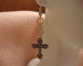 christain earrings, religious earrings, cross earrings, religious jewelry, christain jewelry, cross jewelry, cross charm earring, cross(296)