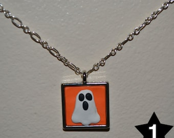 Clay Ghost on Metal Necklace