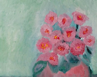 """Original Abstract Oil Painting """"Pretty Flowers in the Morning Light """""""