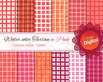 Pink Tartan Plaid Digital Papers Watercolors 12pcs 300dpi Digital Download Scrapbooking Printable Paper