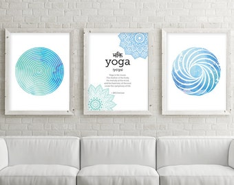 Downloadable Art Set, Yoga, Set of 3 Prints, 3 Print Set, Sacred Geometry, Mandala Art, Mandalas, Yoga Print, Zen Art, Boho Art, Yoga Art