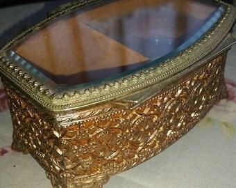 Vintage Sankyo ormolu jewelry music box.