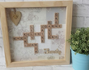 Scrabble Wall Art - Scrabble Family Frame - Scrabble Word Gift - Scrabble Picture - Personalised Gift Frame