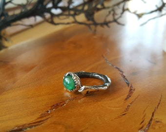 Emerald Cabachone Ring - Natural Gemstone Handmade Ring