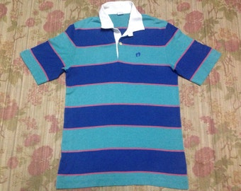 vintage Hang Ten shirt stripes thin blue 70s/80s surf skate Made In Usa size L