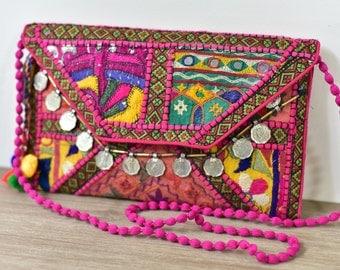 Bohemian Patchwork Clutch - Pink