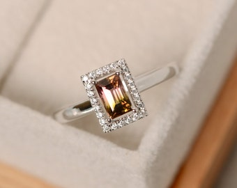 Watermelon tourmaline ring, unique ring, sterling silver, rectangle ring