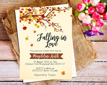 fall in love bridal shower invitation, falling in love bridal shower, autumn bridal shower invitation, autumn fall invitation, digital file
