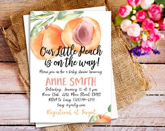 Attractive Sweet Peach Baby Shower Invitations, Little Peach On The Way Invitation, Peaches  Baby Shower