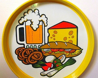 Vintage 70s Cheinco Housewares Aluminum Tray with Beer and Food Print