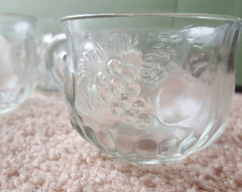 Vintage Jeanette Glass fruit punch serving bowl and 12 glass cups