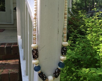 Speckled brown glass and sea glass layer necklace