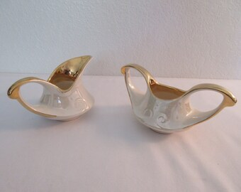 Stunning Vintage Pearl China Hand Painted Creamer and Sugar Set