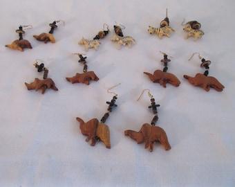 Vintage Hand Crafted Animal Earrings - 6 Pair