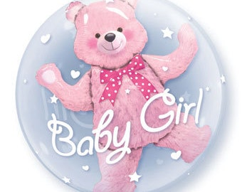 Baby Girl Balloon, Double Bubble Balloon, Baby Shower, Girl Baby, Baby Gift, Baby Decor, Baby Shower Decoration, Gender Reveal, Teddy Bear