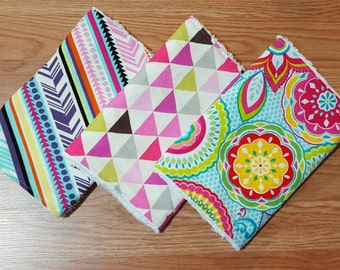 Burp cloths- baby girl, burpcloths, baby gift set, chenille, burp rag, baby shower gift, modern baby, floral burp cloth