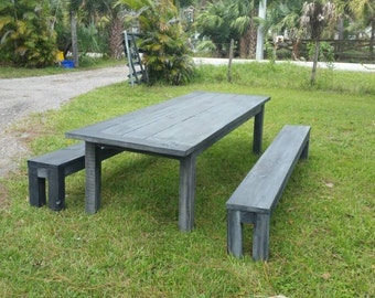 Reclaimed Wood Farm Table with Benches