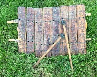 African Vintage Xylophone Folk Art Tribal Art Wood Instrument