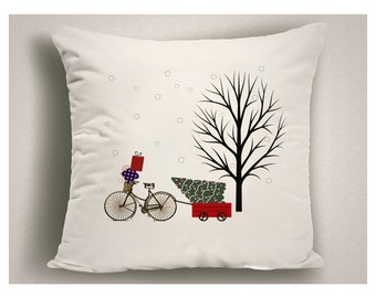 Bike Lover Gift, Christmas Throw Pillow Bicycle and Tree, Holiday Pillow Covers, Christmas Decor Bike, 14 x 14, 16 x 16, 18 x 18, 20 x 20