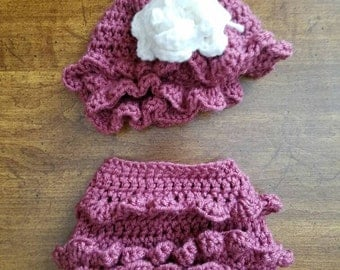 Baby Girl Diaper Cover and Hat