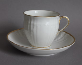 KPM Berlin Germany Rocaille Decor 05 white Coffee Cup And Saucer Set Goldrim