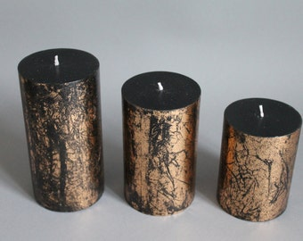 Black & copper foil pillar candles hand made dyed in three sizes D. 75 mm