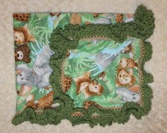 Jungle Fleece Baby BLANKET, Baby Lion King Blanket, SOFT Baby Zoo Blanket, Baby JUNGLE crib blanket
