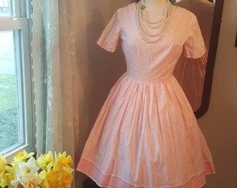 1950's 50's Pink and White Gingham Vintage Dress Rick Rack 1950s 50s Size Medium Adorable Day Dress Full Skirt