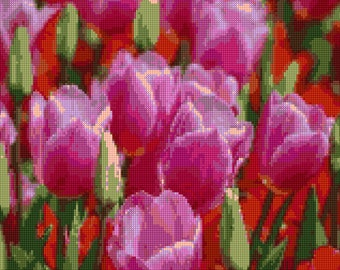 Spring Tulips Cross Stitch pattern PDF - EASY chart with one color per sheet And traditional chart! Two charts in one!