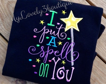 I put a spell on you shirt, Girls Halloween shirt, Halloween sayings, Funny Halloween shirts, Halloween shirts for girls