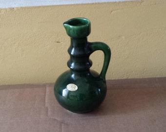 Jopeko 7201-21: superb German pottery handled vase, deep green glazing, seventies