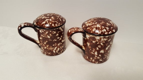 Stangl Brown Town & Country Salt and Pepper Shakers with Handles #5287