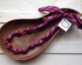 Upcycled Tie Necklace - red with blue stripes