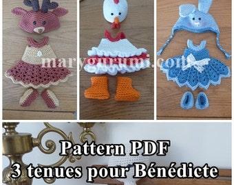 Crochet Pattern, pattern, tutorial, Amigurumi, dolls, 3 outfits for dolls Bénédicte (4 Pack)