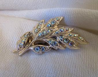 Vintage Hair Clip, Rhinestone Hair Clip, Bridal, Wedding Hair Clip, Silver, Gold tone, Leaf Spray Hair Clip