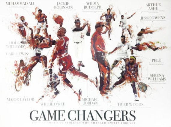 Black And White Sports Posters: African American Sports Athletes Poster Black History Wall Art