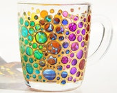 Bubbles mug painted glass mug colorful Bubbles coffee mugs Mosaic Cup bright rainbow Coloured Bubbles Mug bubbles Valentines Day Gift